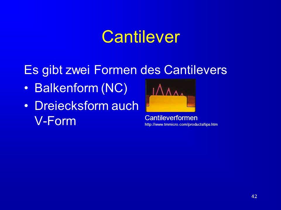 Cantilever Es gibt zwei Formen des Cantilevers Balkenform (NC)