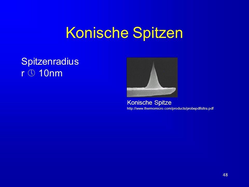 Konische Spitzen Spitzenradius r  10nm