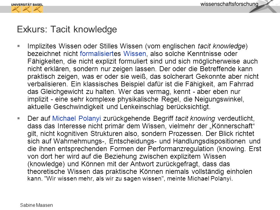 Exkurs: Tacit knowledge