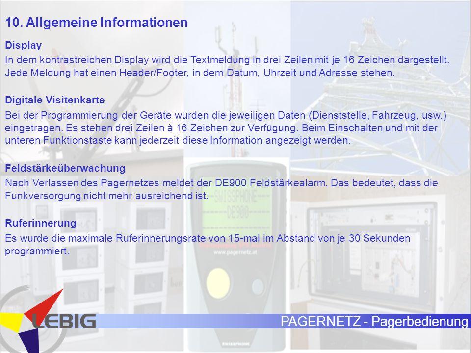 10. Allgemeine Informationen