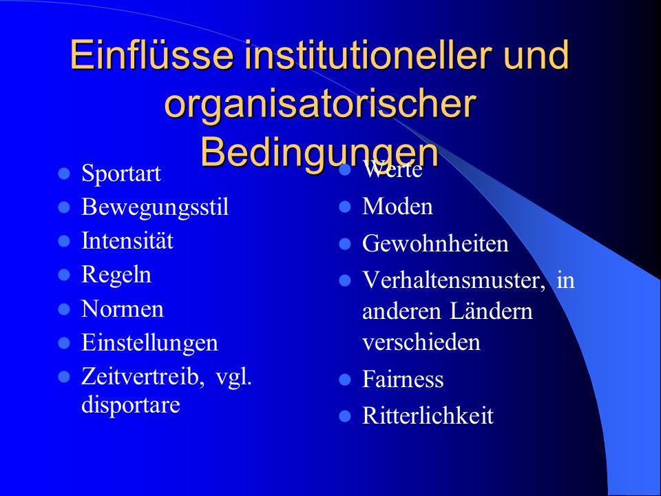 Einflüsse institutioneller und organisatorischer Bedingungen