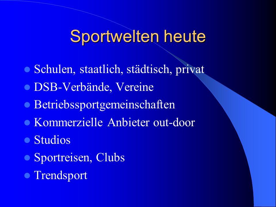 Sportwelten heute Schulen, staatlich, städtisch, privat