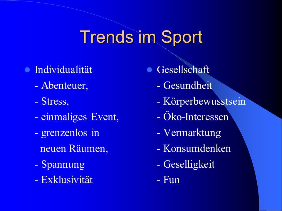 Trends im Sport Individualität - Abenteuer, - Stress,