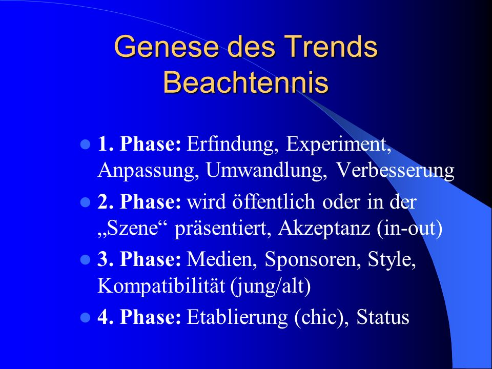 Genese des Trends Beachtennis