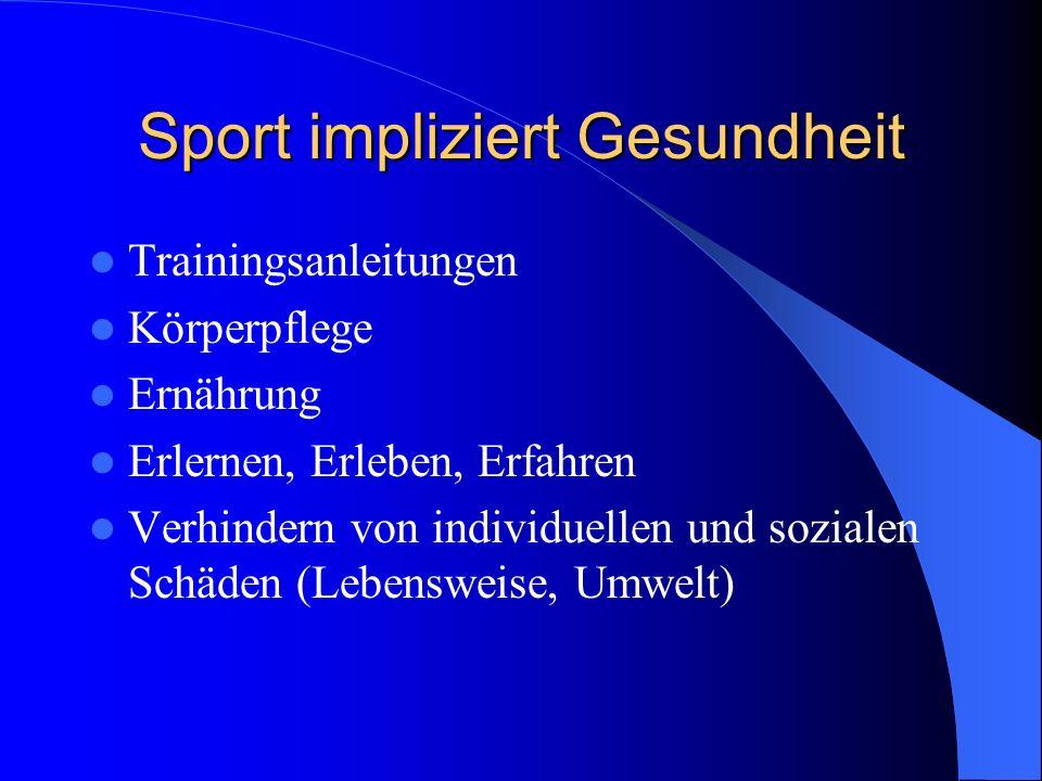 Sport impliziert Gesundheit