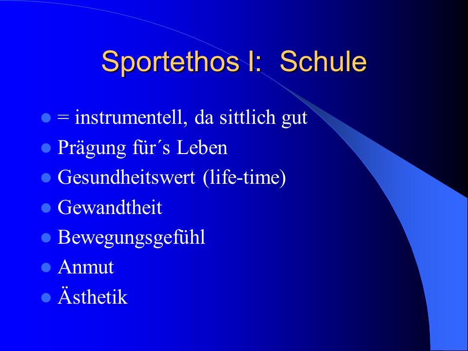 Sportethos I: Schule = instrumentell, da sittlich gut