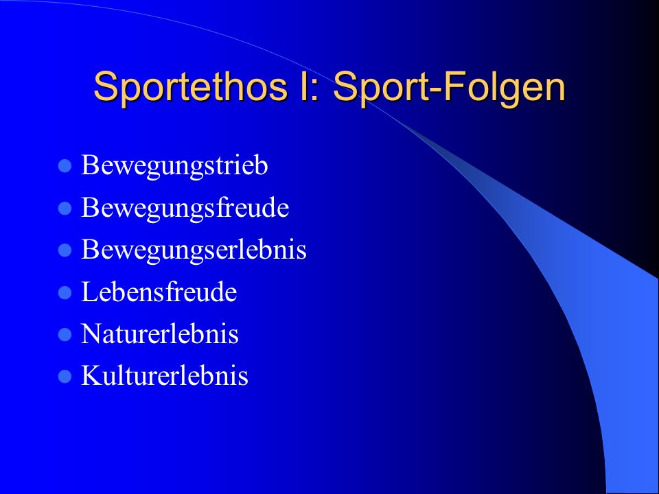 Sportethos I: Sport-Folgen
