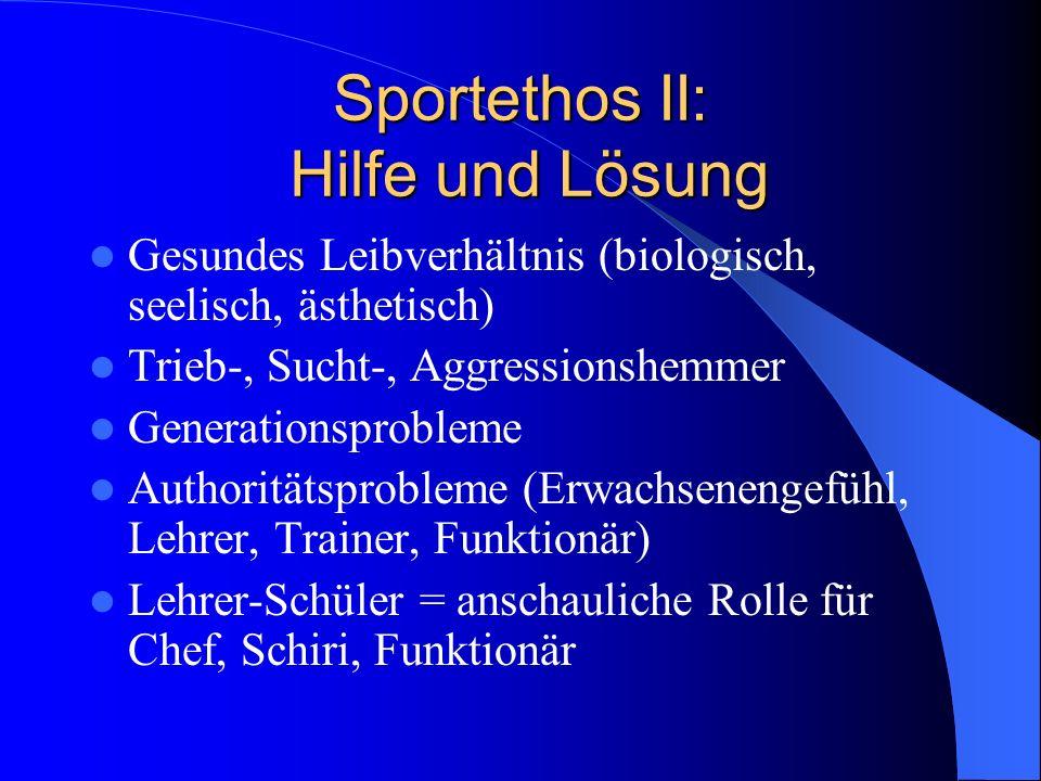 Sportethos II: Hilfe und Lösung