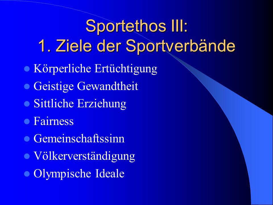 Sportethos III: 1. Ziele der Sportverbände