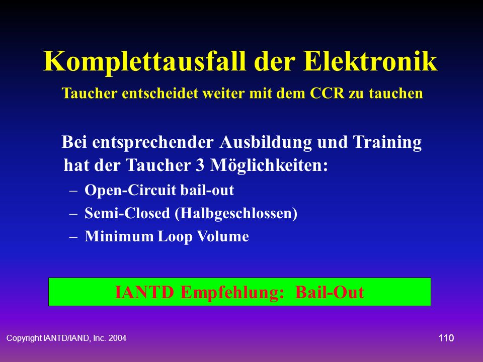 IANTD Empfehlung: Bail-Out