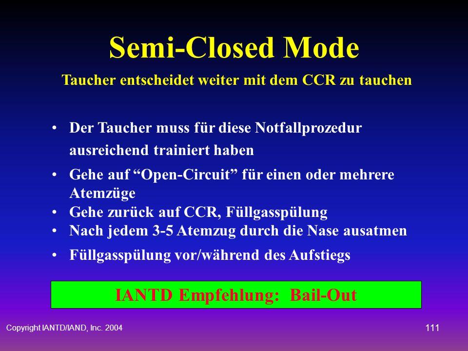 Semi-Closed Mode Taucher entscheidet weiter mit dem CCR zu tauchen