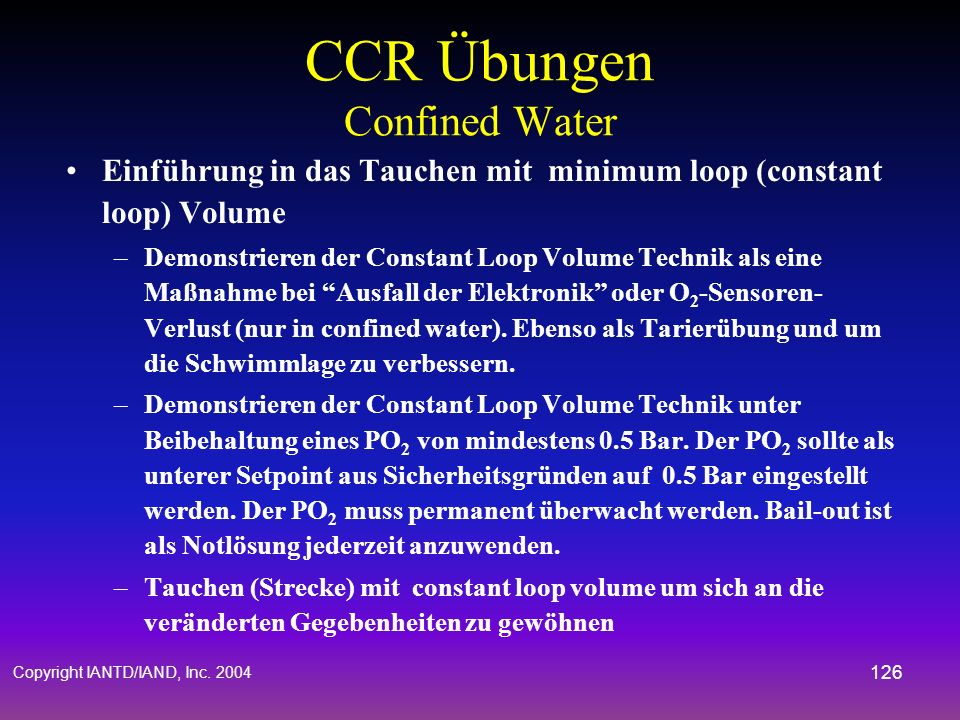 CCR Übungen Confined Water