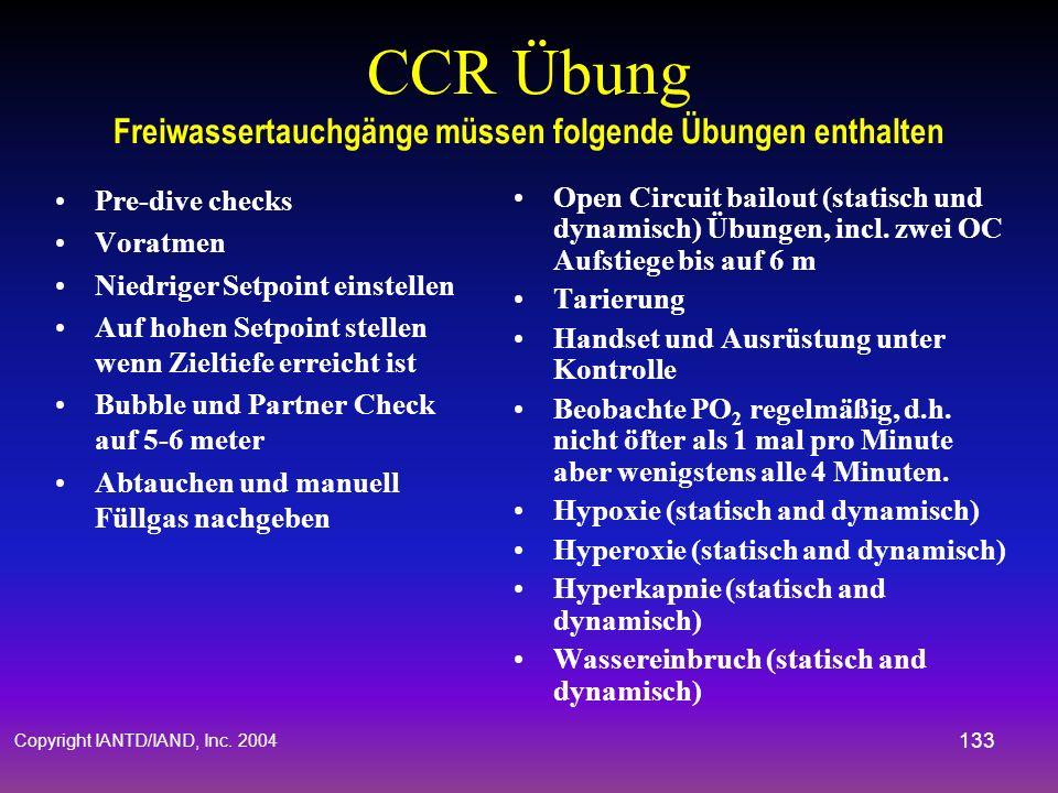 CCR Übung Freiwassertauchgänge müssen folgende Übungen enthalten