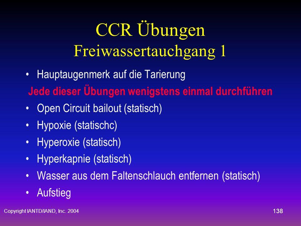 CCR Übungen Freiwassertauchgang 1