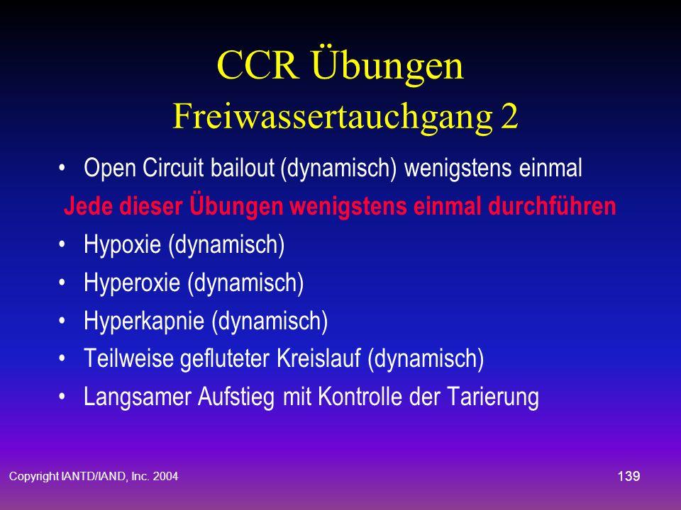 CCR Übungen Freiwassertauchgang 2