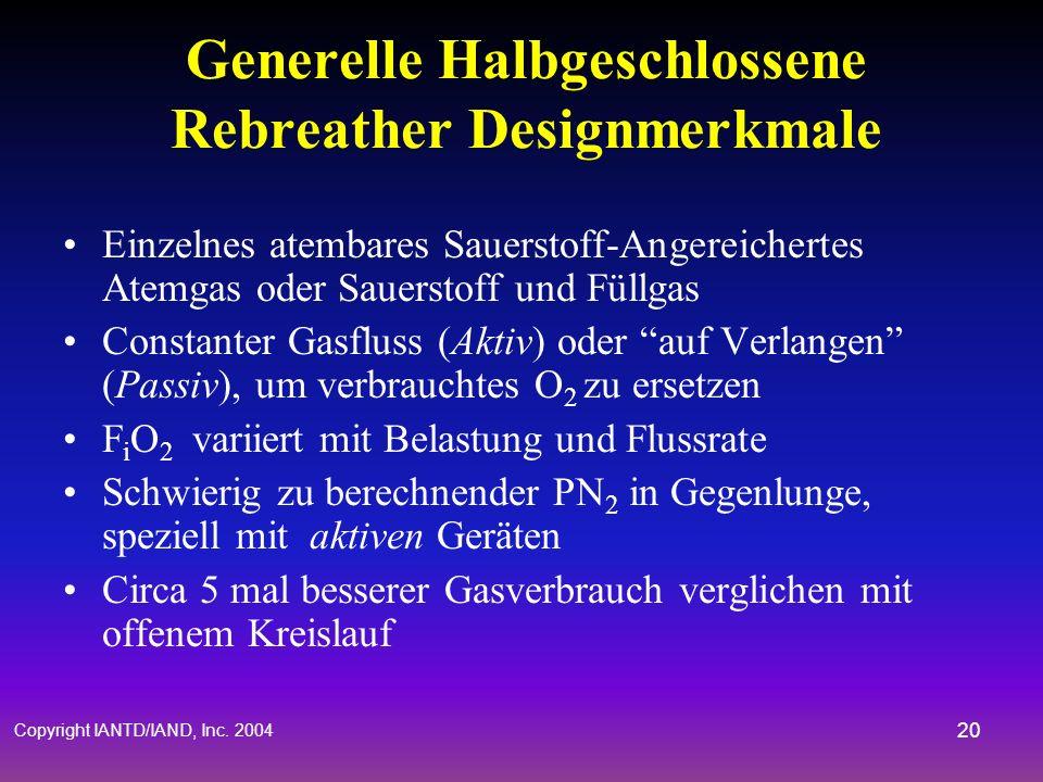 Generelle Halbgeschlossene Rebreather Designmerkmale