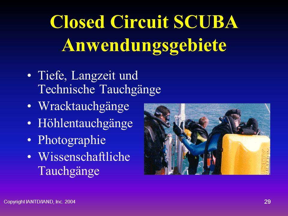 Closed Circuit SCUBA Anwendungsgebiete