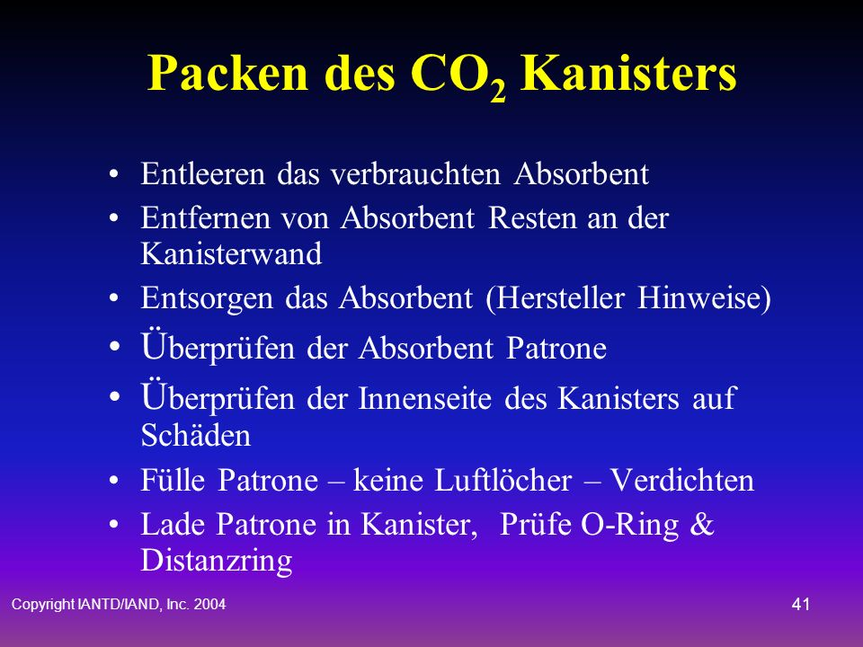 Packen des CO2 Kanisters