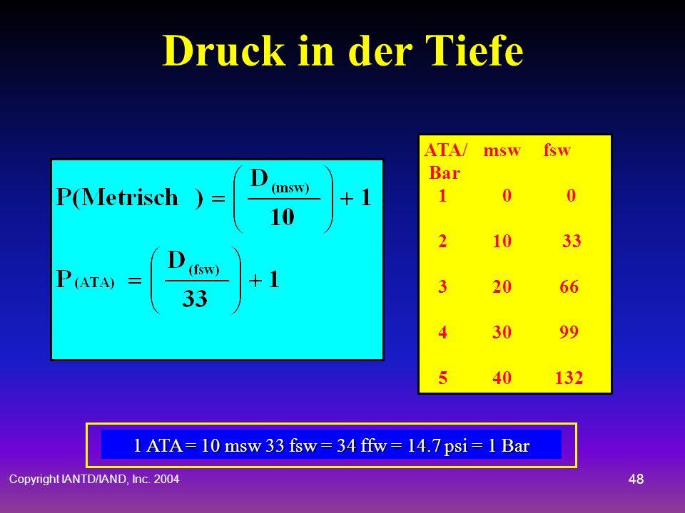 Druck in der Tiefe ATA/ msw fsw Bar 1 0 0 2 10 33 3 20 66 4 30 99