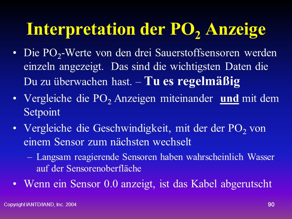 Interpretation der PO2 Anzeige