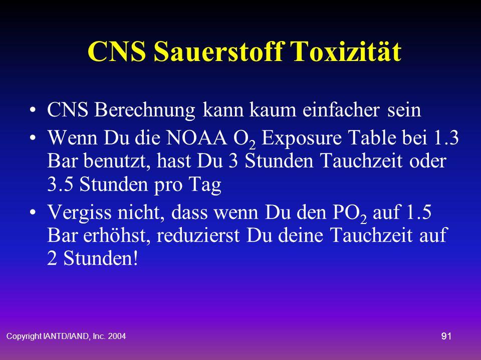 CNS Sauerstoff Toxizität
