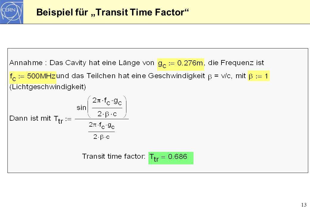 """Beispiel für """"Transit Time Factor"""