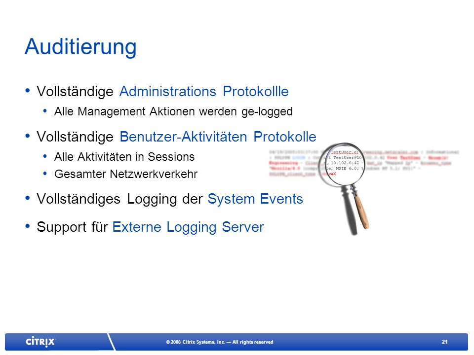 Auditierung Vollständige Administrations Protokollle
