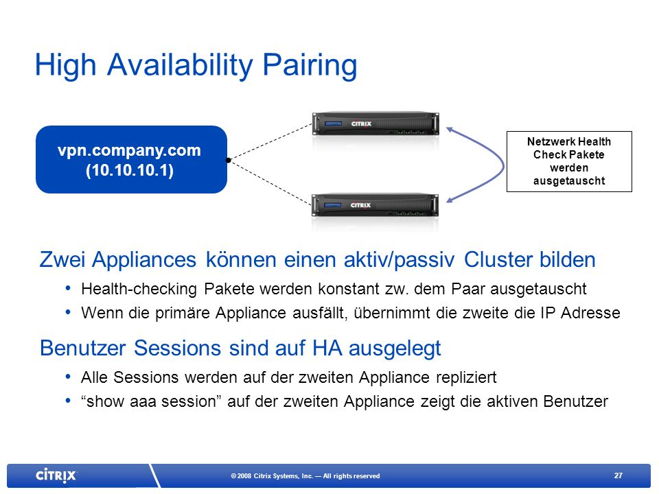 High Availability Pairing