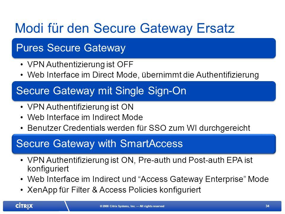 Modi für den Secure Gateway Ersatz