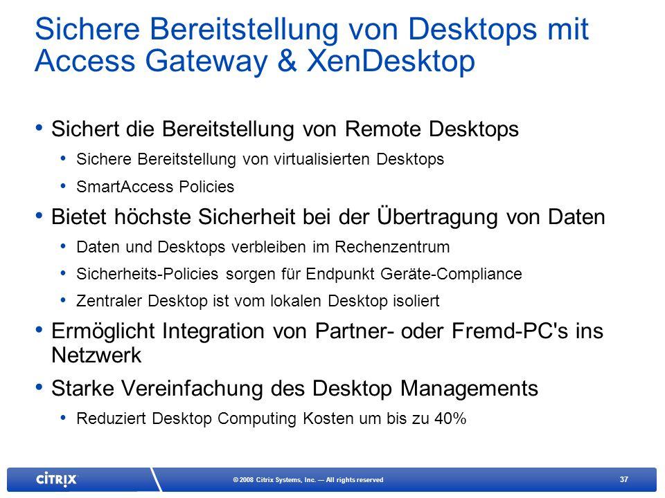 Sichere Bereitstellung von Desktops mit Access Gateway & XenDesktop