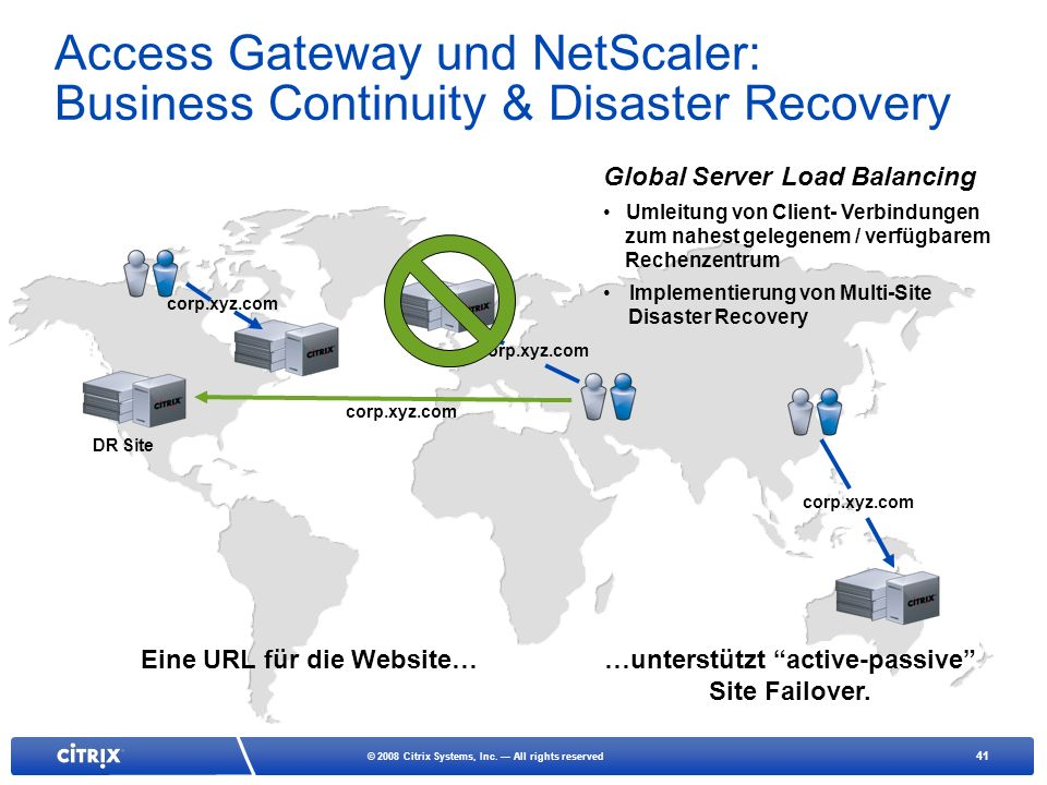 Access Gateway und NetScaler: Business Continuity & Disaster Recovery