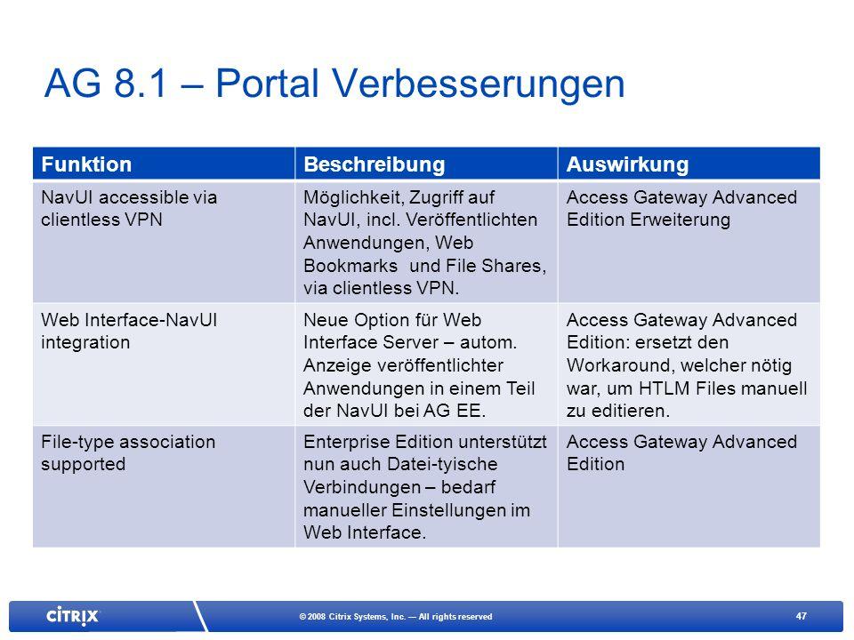 AG 8.1 – Portal Verbesserungen