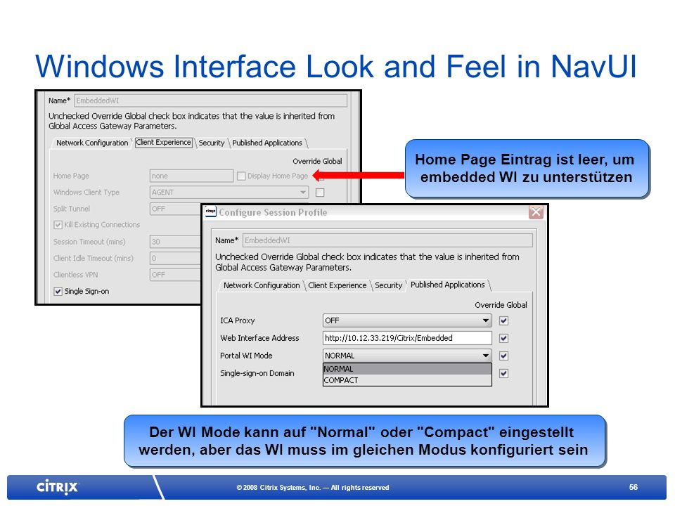 Windows Interface Look and Feel in NavUI