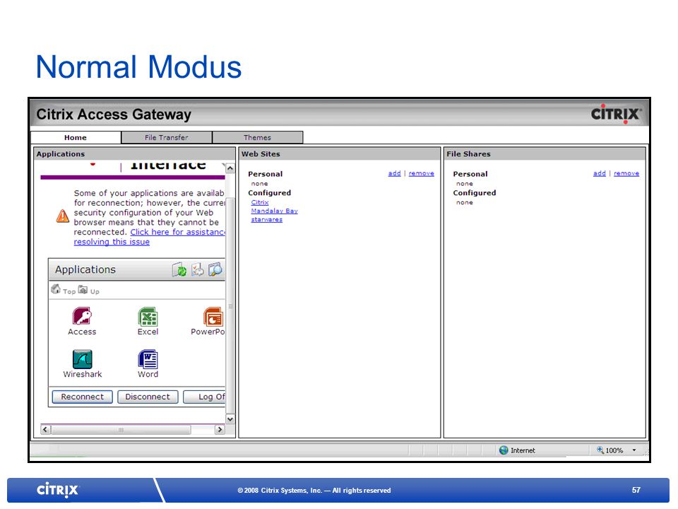 Normal Modus The user has to use the scroll bar to move up and down to access XA applications- Iframe.