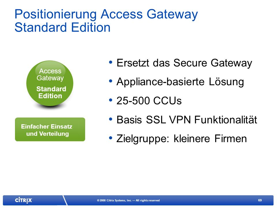 Positionierung Access Gateway Standard Edition