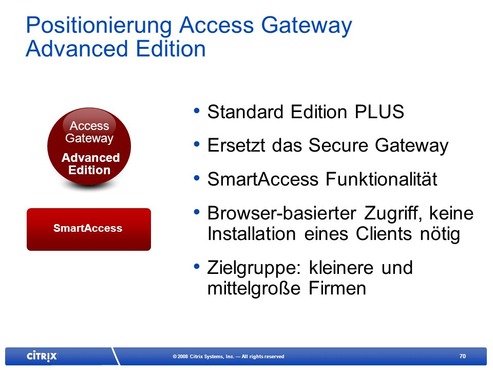 Positionierung Access Gateway Advanced Edition