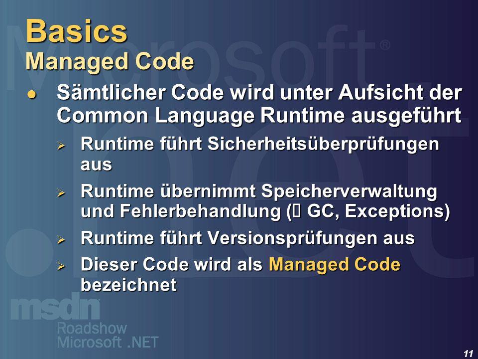Basics Managed Code Sämtlicher Code wird unter Aufsicht der Common Language Runtime ausgeführt. Runtime führt Sicherheitsüberprüfungen aus.