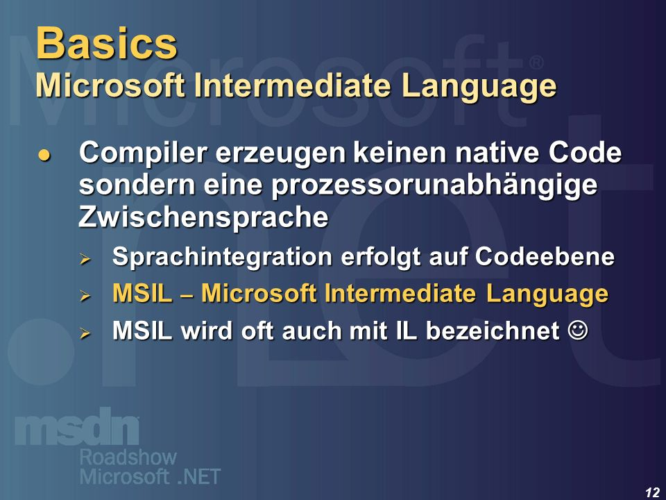 Basics Microsoft Intermediate Language