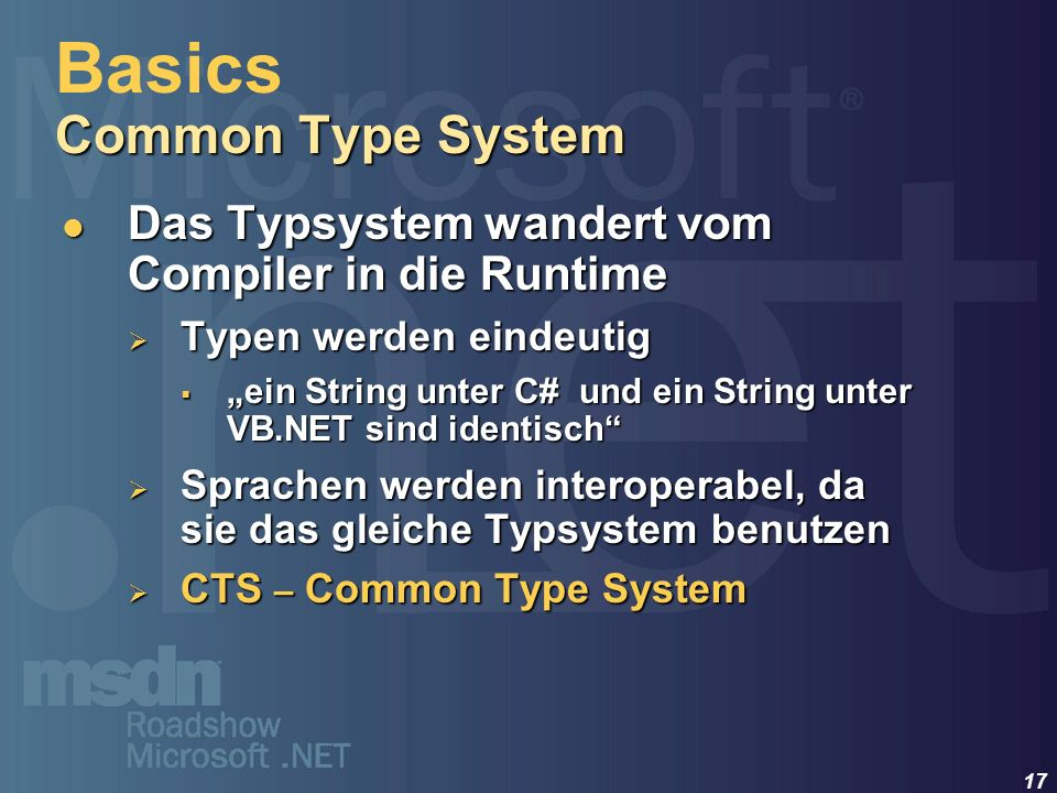 Basics Common Type System