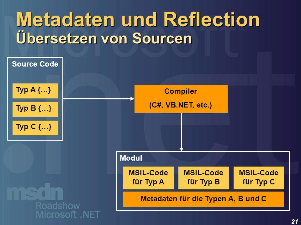 Metadaten und Reflection Übersetzen von Sourcen