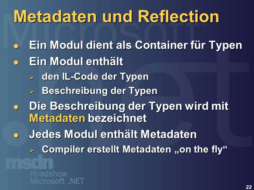 Metadaten und Reflection
