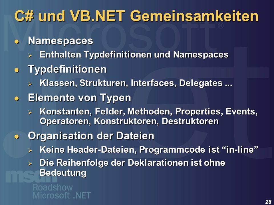 C# und VB.NET Gemeinsamkeiten