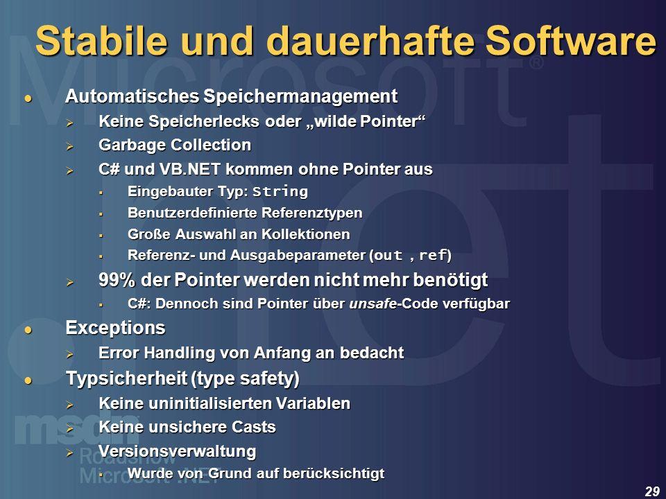 Stabile und dauerhafte Software