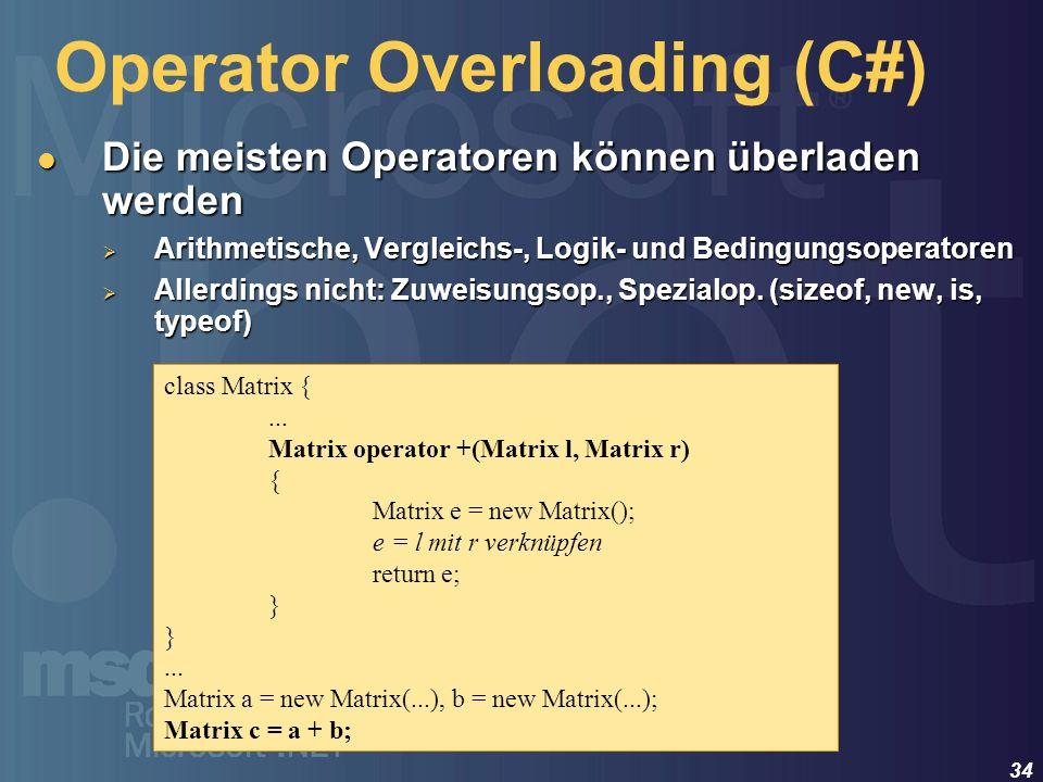 Operator Overloading (C#)