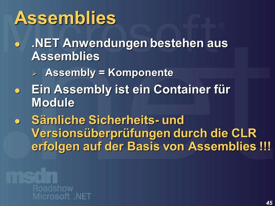 Assemblies .NET Anwendungen bestehen aus Assemblies