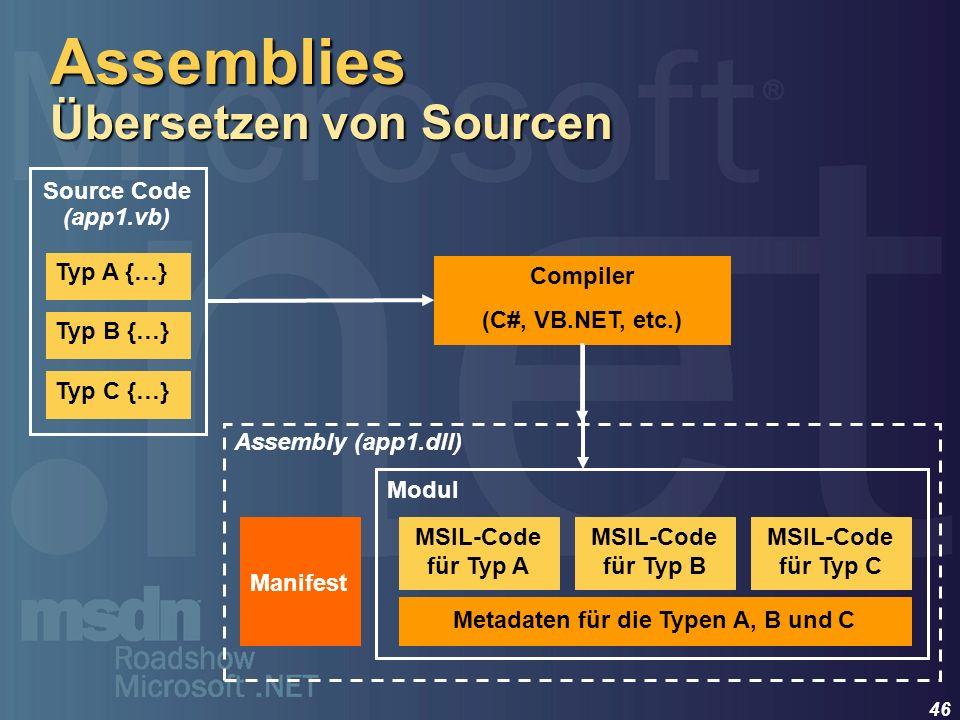 Assemblies Übersetzen von Sourcen