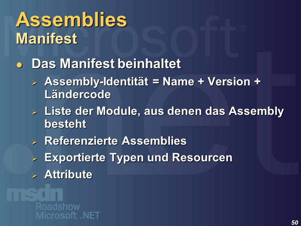 Assemblies Manifest Das Manifest beinhaltet