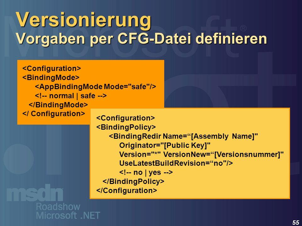 Versionierung Vorgaben per CFG-Datei definieren