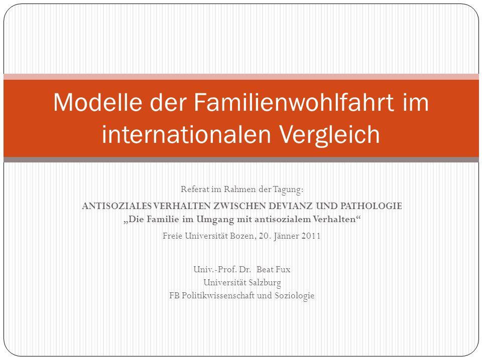 Modelle der Familienwohlfahrt im internationalen Vergleich