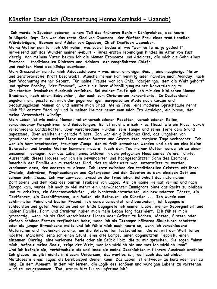 Künstler über sich (Übersetzung Hanna Kaminski – Uzenab)
